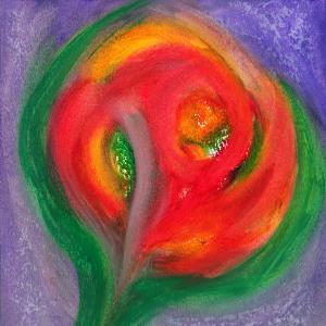 4-24 fleur boule-rouges oranges 21-21 cadre 30-30